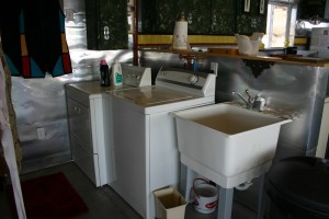 The washer, dryer and wash basin.